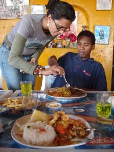 Alicia the writer / Jimmy the guide, in Chincha's Mamaine Restaurant