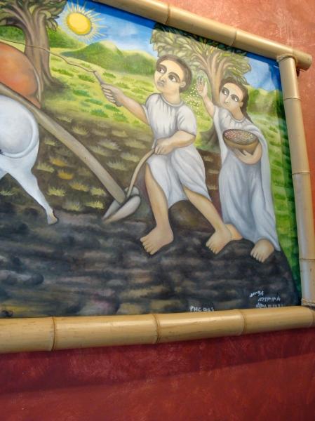 ethiopian art on the restaurant NYALA Ethiopian cusine