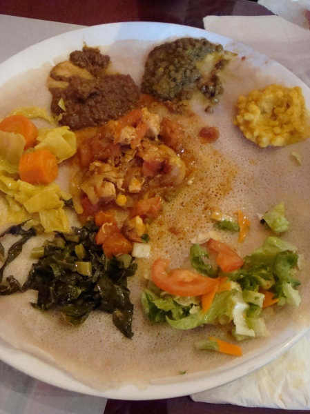 vegy combo & chicken + enjera (ethiopian bread)