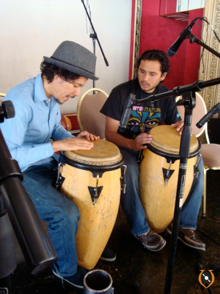 Carlos tutoring Rich Spirit on the congas